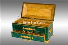 Malachite/Green Jade Precious Stone Jewelry Boxes