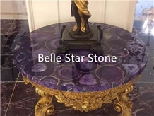 Purple Agate Backlit Semiprecious Stone Table Tops
