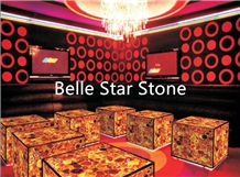 Red Agate Backlit Semiprecious Stone Decor Tables