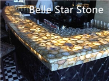Yellow Agate Backlit Precious Stone Bar Countertop