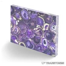 Backlit Purple Natural Gemstone Agate Slab