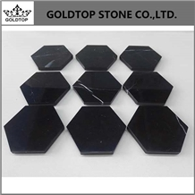 Italy White and Black Marble Hexagonal Coasters