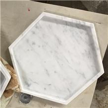 Bianco Carrara White Marble Hexagon Tea Trays