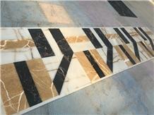 Black Portoro Marble Waterjet Medallion Floor Tile