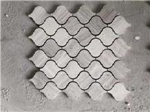 Grey Wood Grain White Wooden Marble Lantern Mosaic