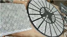 Hexagon Carrara White Marble Mosaic Floor Tiles