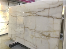 Polished Snow White Onyx Slabs Covering Pattern