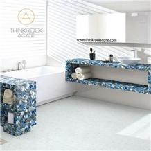 Backlite Blue Agate Semiprecious Stone Countertop
