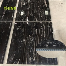 Lightweight Silver Dragon Black Marble Wall Tile