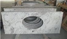 White Granite Bathroom Vanity Tops with Sinks