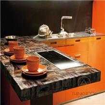 Wood Brown Black Wall Building Kitchen Countertop