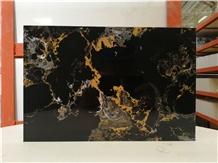 Portoro Black Golden Flower Artificial Marble