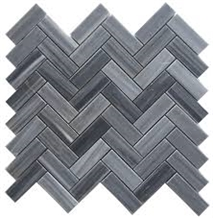 Grey Marble Mosaic Tiles Herringbone Shape