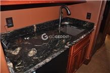 Black Fusion Granite Bathroom Countertop