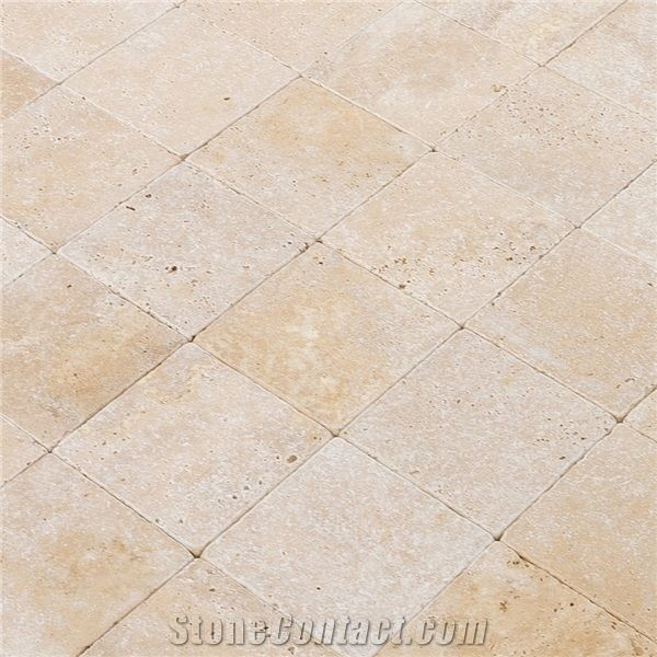 Oasis Beige Travertine Tiles Tumbled 6x6 From United States