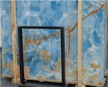 Backlit Luxury Sky Blue Onyx Stone Slabs