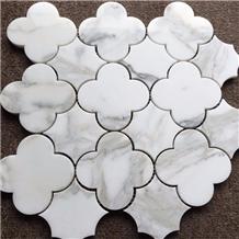 Bathroom Waterjet Flower Marble Mosaic Tile Design