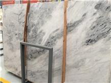China Ink White Marble Polish Slab Tile available