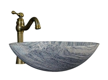 Chinese Juparana Granite Stone Oval Bathroom Sink