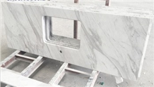 Greece Jazz White Marble Polished Kitchen Countertop