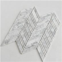 Herringbone Carrara White Stone Marble Mosaic Tile