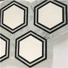 Hexagon Kitchen Marble Mosaic Tile Backsplash