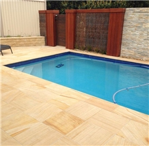 Honed China Yellow Sandstone Swimming Pool Tiles