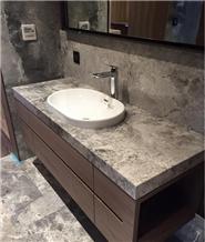 Nabulae Grey Marble Polished Countertop Vanity Top