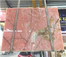 Polished Backlit Italy Onice Rosa Pink Onyx Slabs