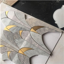 Polished Carrara Marble Water Jet Wall Mosaic Tile