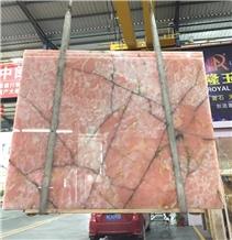 Polished Italy Onice Rosa Onyx Stone Flooring Tile