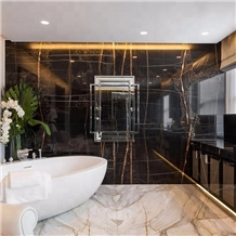 Polished Noir Serpents Marble Bathroom Wall Tiles