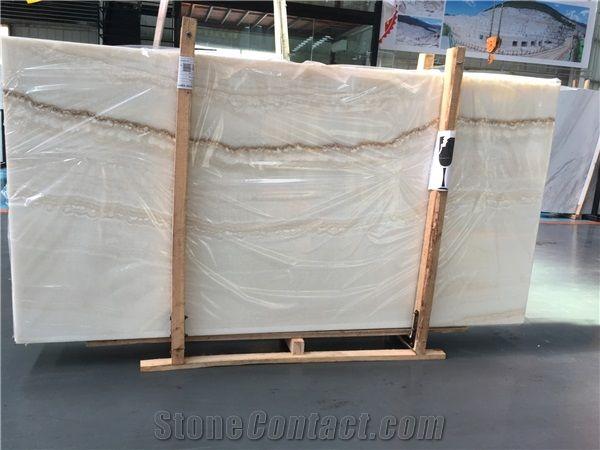 Polished Translucent Turkey Agri White Onyx Slabs from China