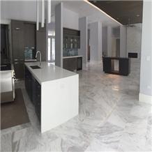 Polished White Volakas Haemus Marble Flooring Tile