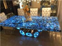 Semi Precious Blue Agate Stone Commercial Table