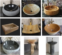 Stone Round Natural River Wash Sink for Project