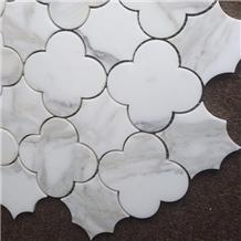 Waterjet White Marble Mosaic Wall Tile Backsplash