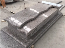 Wulian Red Granite G361 Polished Tombstone Design