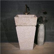 Yellow Stone Granite Sink Handmade Pedestal Basins