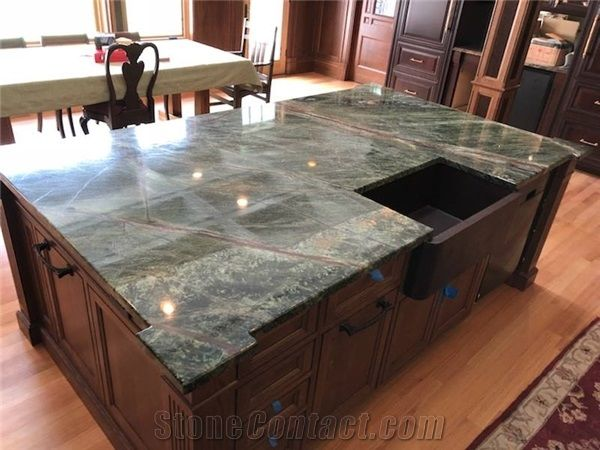 Rainforest Green Marble Island Top From United States