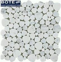 Biance Carrara White Heart Shape Marble Mosaic