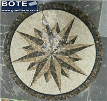 Geometric Marble Mosaic Medallion Carpet Medallion