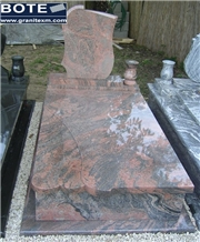 Multicolor Red Granite Tombstone Monument