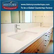 Custom Bathroom Solid Surface Glass Vanity Tops