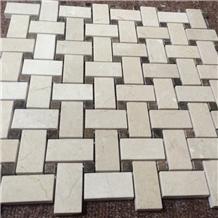Crema Marfil Marble Mosaic Basketweave Floor Tiles
