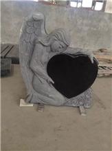 Black Granite Angel Heart Monument & Tombstone