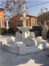 Decorative White Marble Garden Fountain