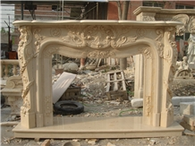 Cheaper Beige Marble Stone Fireplace Mantel