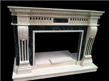 Indoor Beige Marble Fireplace Mantels