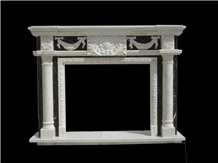 White Black Marble Pillar Fireplace Mantels Indoor